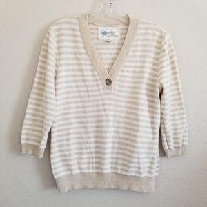 Lauren Ralph Lauren Beige Striped Knit 3/4 Slv Top